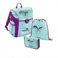 Školní aktovka - 3-dílný set, Baggymax Trikky Delfíni, hmotnost pouze 0,65 kg - zvětšit obrázek